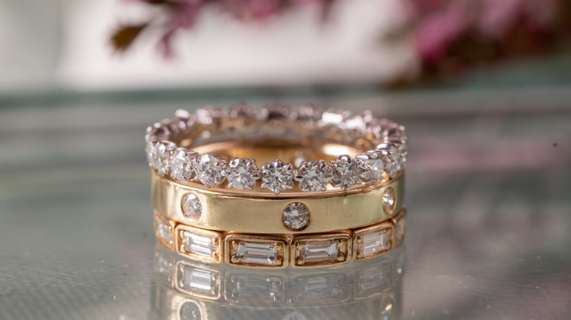 Eternity Band Shared Prong Alternating Baguette Two Round