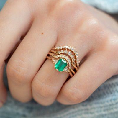 Emerald Bea Three Stone Ring in 14K Yellow Gold