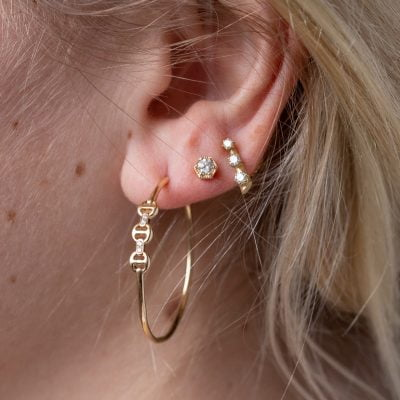 18K Yellow Gold Diamond Olivia Loop Earring w/ Pear Drop