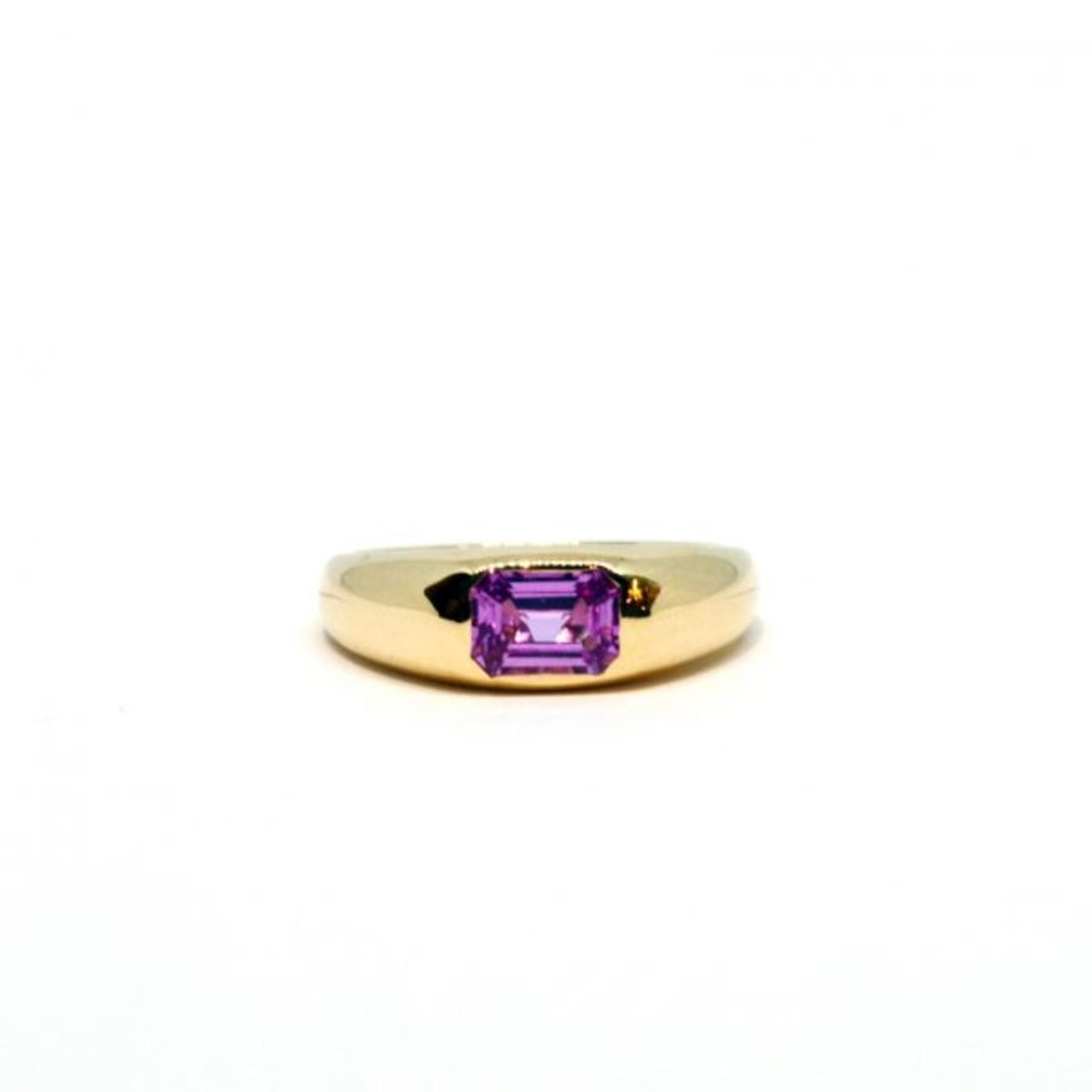 Emerald Cut Pink Sapphire Dome Ring In 14K Yellow Gold