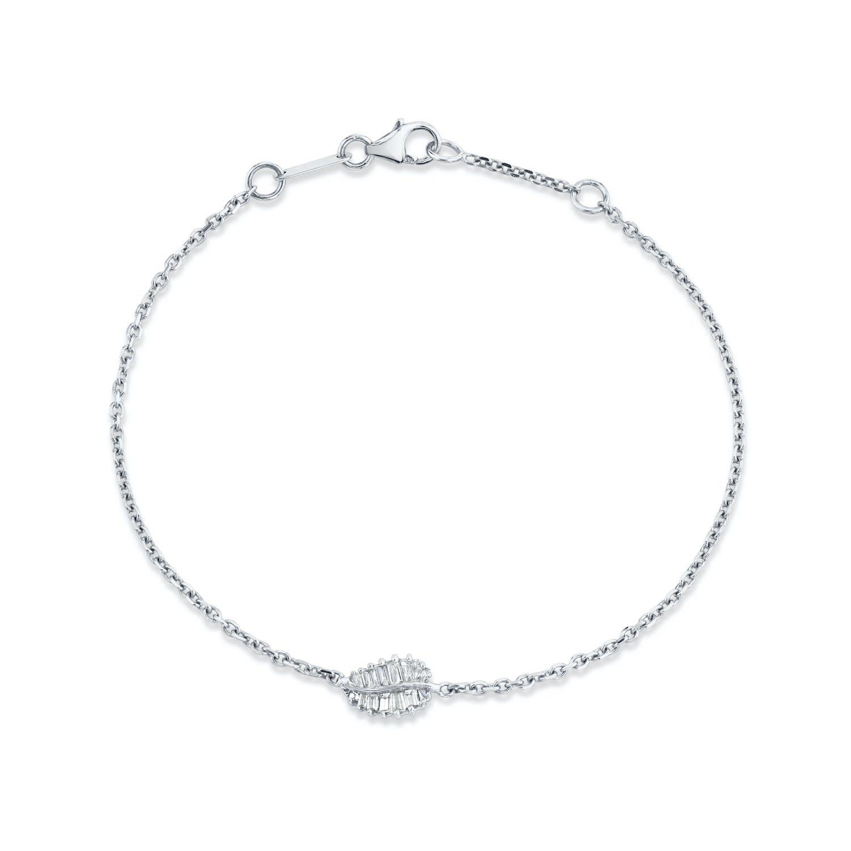 White Gold Small Palm Leaf Chain Bracelet