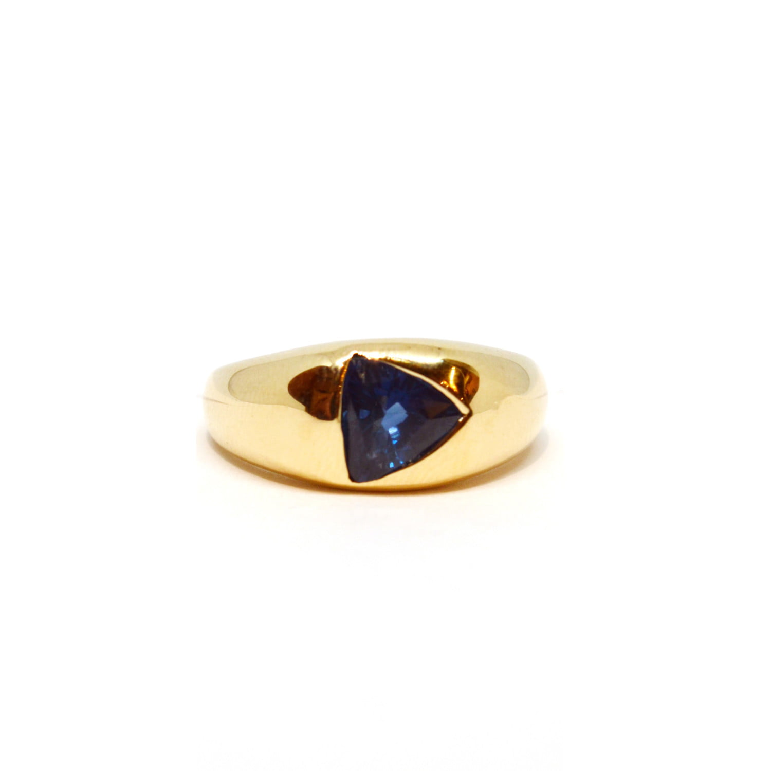 Trillion Blue Sapphire Dome Ring In 14K Yellow Gold