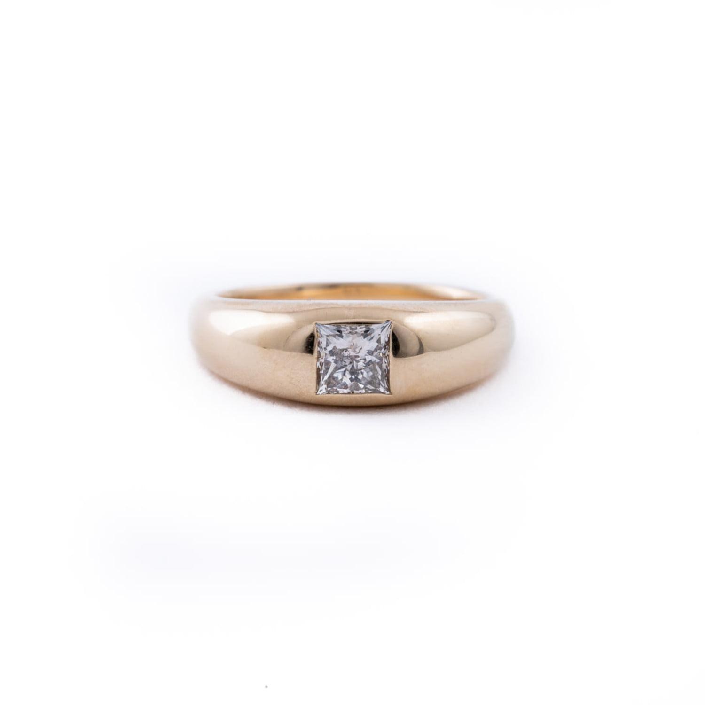 Princess Cut Diamond Dome Ring In 14K Yellow Gold
