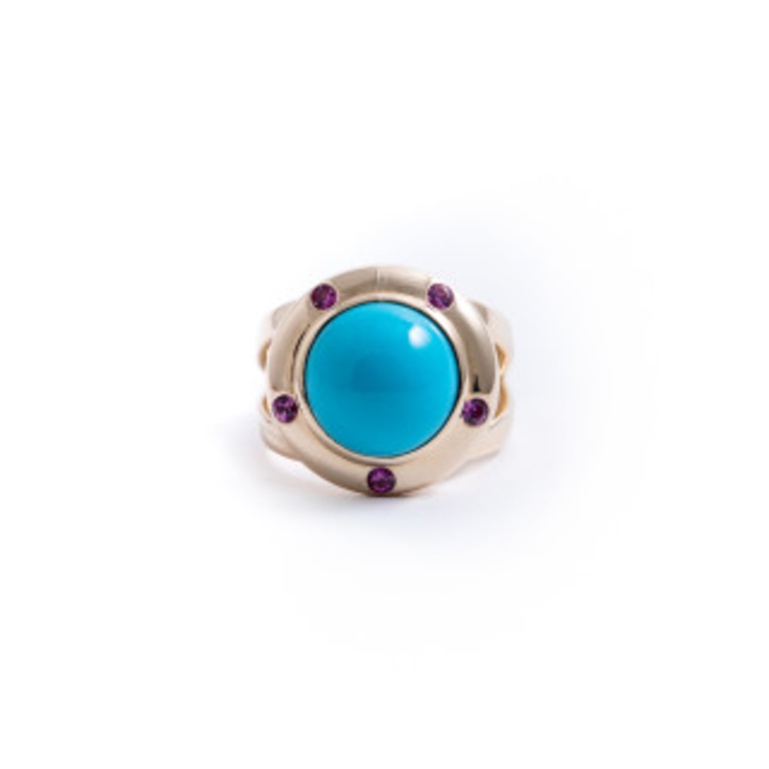Turquoise Saucer Ring with Pink Sapphires