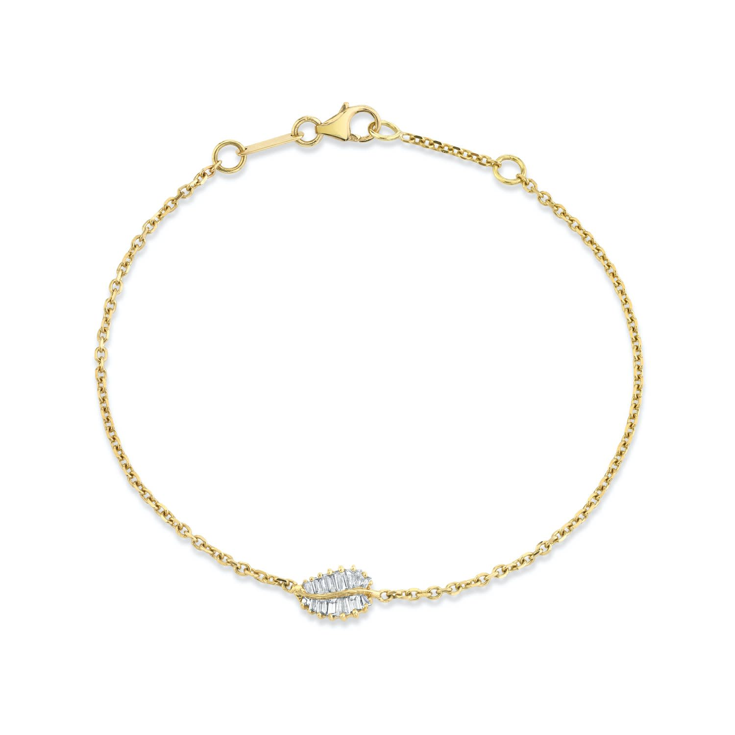 Yellow Gold Small Palm Leaf Chain Bracelet