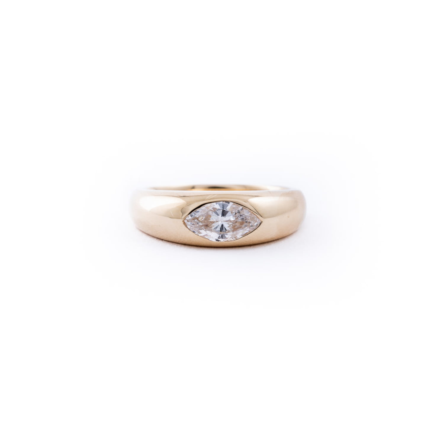 Marquise Diamond Dome Ring In 14K Yellow Gold