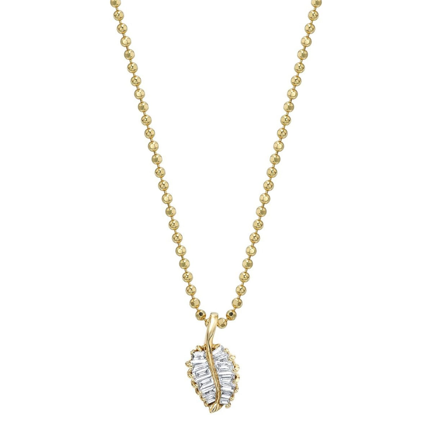 Yellow Gold Small Palm Leaf Necklace