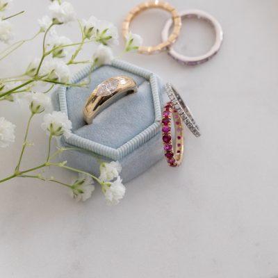 Lapis Saucer Ring with Diamonds