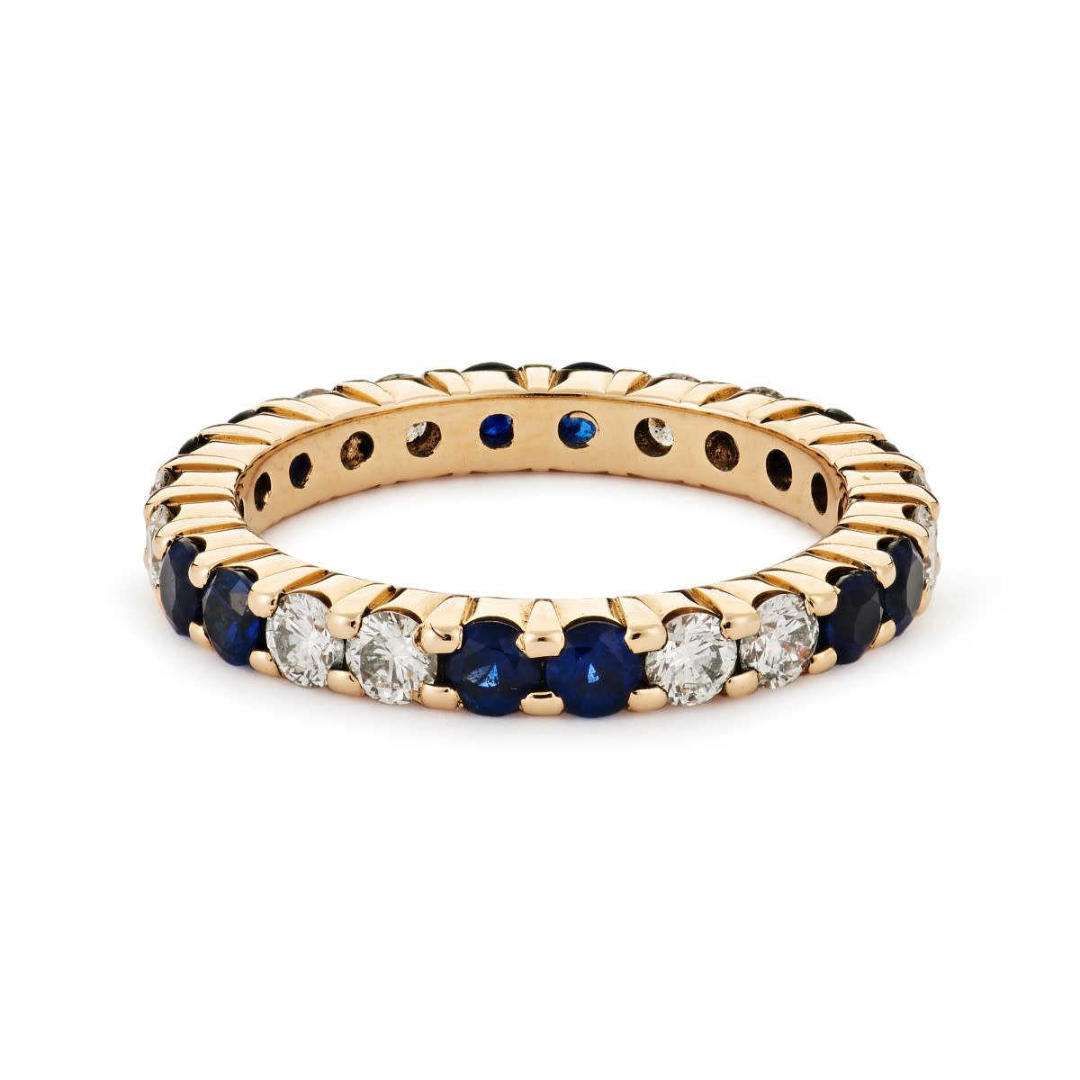 Eternity Band Shared Prong 2.5mm Alternating Two Diamond Two Sapphire